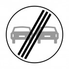 End of no overtaking zone sign, decals stickers