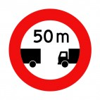 Stay at 50 meter of distance between trucks sign, decals stickers