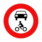 No motor vehicles or motorcycles sign, decals stickers