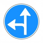 Turn left or go straight sign , decals stickers