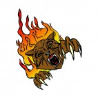 Angry brown lynx flames drawing, decals stickers