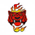 Angry red tiger flames drawing, decals stickers