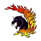 Angry purple lynx flames drawing, decals stickers