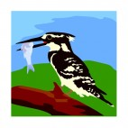 Black and white bird eating fish, decals stickers