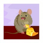 Mouse eating cheese, decals stickers