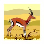Gazelle in scrubland, decals stickers