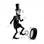 Abraham Lincoln kicking tire, decals stickers