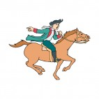 United States Minuteman on horse running back alerting, decals stickers