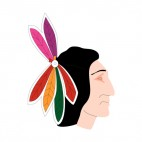 Native American men face with multicolored feathers, decals stickers