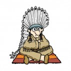 Native American chief sitting down, decals stickers