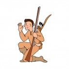Native American with bow and gun waving hand, decals stickers
