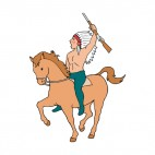 Native American on horse holding gun calling, decals stickers