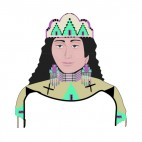 Native American woman with hat, decals stickers