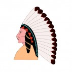 Native American chief with long feathers hat, decals stickers