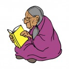 Native American with purple blanket reading book, decals stickers