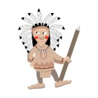 Native American chief with fierce look holding spear, decals stickers