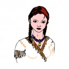 Native American woman portrait, decals stickers