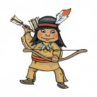 Native American with bow and arrows, decals stickers