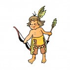 Native American boy with bow and arrow, decals stickers