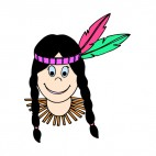 Native American girl with green and pink feathers, decals stickers