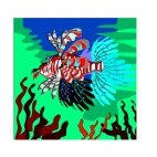 Multicolored Scorpion fish with seaweeds, decals stickers