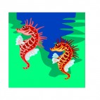 Red and orange seahorses, decals stickers