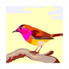 Multicolored bird on a twig, decals stickers