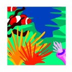 Red clownfishes near aquatic plants and seaweeds, decals stickers