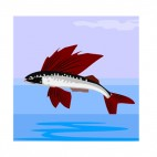 Flying fish with red tail, decals stickers