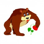 Bear picking strawberry, decals stickers