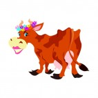 Cow with flower crown and lipstick, decals stickers
