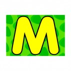 Animal letter M green colour backround, decals stickers