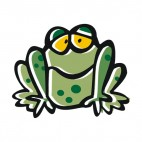 Green bored frog, decals stickers