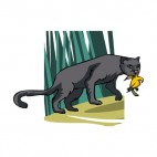 Grey panther with food in his mouth , decals stickers